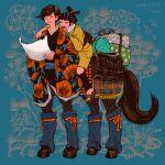 1boy 1girl black_bag black_hair black_kimono brown_footwear centaur floral_print flower highres holding japanese_clothes kimono long_sleeves original print_kimono procreate_(medium) red_flower riding sandals taur tomidoron wide_sleeves