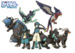hat houndoom lucario lumineon luxray painame pixiv pixiv_trainer poke_ball pokemon pokemon_trainer rampardos shorts simple_background smile star swellow