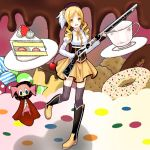 beret blonde_hair boots brown_legwear cake charlotte_(madoka_magica) cookie cup detached_sleeves doughnut drill_hair fingerless_gloves food gloves gun hair_ornament hairpin happy hat long_hair magical_girl magical_musket mahou_shoujo_madoka_magica open_mouth ornate pleated_skirt puffy_sleeves ribbon rifle setona_(daice) skirt standing standing_on_one_leg teacup thighhighs tomoe_mami twin_drills twintails vertical-striped_legwear vertical_stripes weapon witch's_labyrinth yellow_eyes zettai_ryouiki