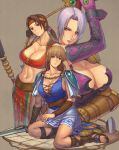 blonde_hair blue_eyes breasts brown_hair cassandra_alexandra cleavage crop_top ibanen isabella_valentine large_breasts midriff milf navel purple_hair sandals seong_mi-na seung_mina shield short_hair skirt sophitia_alexandra soul_calibur soulcalibur sword weapon