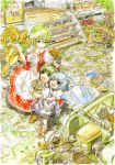 blue_dress blue_eyes blue_hair bow cirno dress flower flower_shop green_eyes green_hair hair_bow hand_on_head highres hug hug_from_behind kazami_yuuka master_(4th) multiple_girls open_mouth shop smile stairs sunflower touhou trike watering_can wings wriggle_nightbug youkai