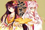 >:) 2girls annoyed blush bow fujiwara_no_mokou hair_bow hair_ornament houraisan_kaguya japanese_clothes kimono long_hair multiple_girls red_eyes rin_(teiuka-forever) rivalry touhou