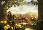boots branch bread brick_wall brown_hair building castle chibi_(shimon) city cityscape cloud clouds fence flower food green_eyes house leaf looking_back noble original rail railing rose scarf scenery short_hair sky town tree vines yellow_rose