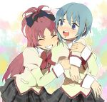 bad_id blue_eyes blue_hair blush closed_eyes eyes_closed grin hug long_hair mahou_shoujo_madoka_magica miki_sayaka mikkabouzu_(kisarisa) multiple_girls ponytail red_hair redhead sakura_kyouko school_uniform short_hair smile surprised yuri