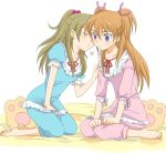barefoot blush brown_hair cheek_kiss closed_eyes eyes_closed heart houjou_hibiki kiss kneeling long_hair minamino_kanade multiple_girls orange_hair pajamas ponytail precure purple_eyes sin_sin sitting suite_precure twintails two_side_up violet_eyes wariza yuri