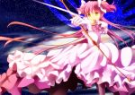 aiming alternate_costume alternate_hairstyle arrow bow_(weapon) error goddess_madoka kaname_madoka long_hair mahou_shoujo_madoka_magica megami_madoka onaka_sukisuki orange_eyes pink_hair solo sparkle spoilers twintails two_side_up ultimate_madoka weapon yellow_eyes