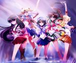 aino_minako arm_up athenacg bishoujo_senshi_sailor_moon black_hair blonde_hair blue_hair boots bow brown_hair choker closed_eyes double_bun earrings gloves green_eyes hair_ornament hairpin hino_rei inner_senshi jewelry kino_makoto long_hair magical_girl mizuno_ami multiple_girls pleated_skirt ponytail purple_eyes raised_arm ribbon sailor_collar sailor_jupiter sailor_mars sailor_mercury sailor_moon sailor_senshi sailor_venus short_hair skirt smile tiara tsukino_usagi v violet_eyes water white_gloves