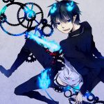 ao_no_exorcist clockwork fang fire formal gears highres male necktie okumura_rin striped striped_necktie suit sword tail tail-tip_fire washi_(micino) weapon