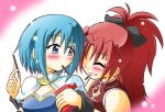 blue_eyes blue_hair long_hair magical_girl mahou_shoujo_madoka_magica miki_sayaka multiple_girls pocky ponytail red_eyes red_hair redhead sakura_kyouko wakabayashi_makoto yuri