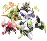 antonio_lopez armor barnaby_brooks_jr boots epaulettes geta helmet horns ivan_karelin kaburagi_t_kotetsu keith_goodman multiple_boys origami_cyclone power_armor power_suit rock_bison sen_nai shuriken sky_high superhero tabi tiger_&_bunny wild_tiger