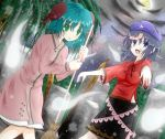 2girls animal_ears bamboo_broom beret blue_eyes blue_hair blush broom dress fang full_moon geung_si ghost graveyard green_eyes green_hair hat highres jiangshi kasodani_kyouko miyako_yoshika moon multiple_girls nightsky ofuda open_mouth outstretched_arms short_hair skirt smile solo standing star star_(sky) tombstone tongue toranashi touhou zombie_pose