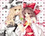 blonde_hair bow braid brown_hair detached_sleeves floral_background flower hair_bow hair_tubes hakurei_reimu hand_holding hat hiru0130 holding_hands kirisame_marisa looking_at_viewer midriff miko multiple_girls navel necktie open_mouth ribbon smile touhou witch witch_hat