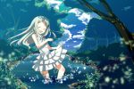 :d bare_legs bare_shoulders closed_eyes cloud clouds dress eyes_closed fireflies forest happy highres honma_meiko long_hair nature open_mouth river silver_hair sky sleeveless smile sundress tree wading yanagi_yuu