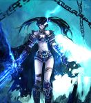 armor bare_shoulders belt black_hair black_rock_shooter black_rock_shooter_(character) blue blue_eyes boots chain chains electricity frostmourne glowing glowing_eyes highres knee_boots long_hair midriff navel scar shorts sword thigh_strap torn_cape twintails warcraft weapon zhuxiao517