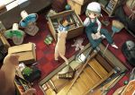 bag blanket book bookshelf box broom cat checkered checkered_floor cleaning electric_fan from_above green_hair indoors manga_(object) original overalls radio reading red_eyes room short_hair sitting solo staircase stairs stuffed_animal stuffed_toy turtle window