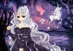 alexa_pasztor bangs bare_shoulders blunt_bangs dress dual_persona flower juliet_sleeves lady_amalthea lexi lexi_nyanko long_hair long_sleeves night personification puffy_sleeves purple purple_dress purple_eyes river silver_hair strapless_dress the_last_unicorn the_unicorn_(the_last_unicorn) tree unicorn very_long_hair violet_eyes water white_hair