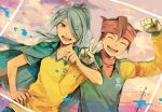 brown_hair closed_eyes clothes_writing clothing_writing cloud clouds endou_mamoru eyes_closed gloves goalkeeper hair_over_one_eye inazuma_eleven inazuma_eleven_(series) jacket kazemaru_ichirouta long_hair male multiple_boys open_mouth ponytail raimon rhe-rhe sky soccer_uniform v