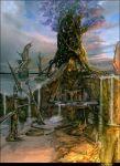 cherry_blossoms fantasy horns landscape makarori_(noah) no_humans ocean original scenery stairs statue temple tree water