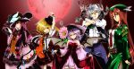 alternate_costume artist_request bare_shoulders bat_wings belt blonde_hair blue_eyes book bow braid breasts crescent cuffs detached_sleeves dress feathers fingerless_gloves fishnet_pantyhose fishnets flandre_scarlet flower frills gloves grey_hair hair_bow handcuffs hat highres hong_meiling i-la izayoi_sakuya knife long_hair moon multiple_girls necktie open_mouth pants pantyhose patchouli_knowledge purple_eyes purple_hair red_eyes red_hair red_moon remilia_scarlet ribbon shirt short_hair side_ponytail skirt skirt_hold smile stopwatch suspenders tagme_(artist) tasoku_hokou_heiki thighhighs touhou twin_braids vest watch wings