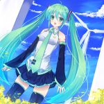 ahoge cloud clouds detached_sleeves ebicha fang green_eyes green_hair hatsune_miku highres long_hair necktie open_mouth skirt sky solo thigh-highs thighhighs twintails very_long_hair vocaloid wind_turbine windmill