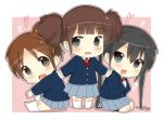 black_eyes black_hair brown_hair chibi hirasawa_ui k-on! long_hair masamuuu nakano_azusa ponytail school_uniform short_hair suzuki_jun twintails