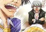 book desk drooling funny_glasses glasses grey_hair morooka_kinshiro morooka_kinshirou narukami_yuu open_collar persona persona_4 segami_daisuke short_hair sleeping