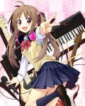 ahoge blush brown_eyes brown_hair drumsticks electric_guitar guitar headphones headphones_around_neck highres instrument keyboard_(instrument) long_hair looking_at_viewer looking_back microphone open_mouth orda original outstretched_arm pleated_skirt school_uniform shadow skirt smile solo twintails v wide-eyed wide_eyed