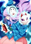 1girl bow fox_mask hata_no_kokoro kumadano long_hair mask pink_hair plaid plaid_shirt profile purple_hair skirt solo touhou violet_eyes