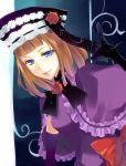 bow capelet dress dutch_angle elbow_gloves eva_beatrice flower gloves hat highres hisato orange_hair red_rose ribbon rose smile solo umineko_no_naku_koro_ni