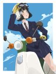 1girl bangs black_hair black_jacket black_skirt blazer blue_sky breast_pocket brown_eyes clouds collared_jacket collared_shirt dated gloves goggles goggles_on_headwear ground_vehicle helmet highres honda honda_super_cub jacket koguma_(super_cub) long_sleeves miyahara_takuya moped motor_vehicle motorcycle motorcycle_helmet necktie pleated_skirt pocket red_neckwear riding school_uniform shirt short_hair signature skirt sky solo striped striped_neckwear super_cub symbol_commentary white_shirt yellow_gloves