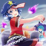 :p beret blue_eyes blue_hair closed_eyes eyes_closed fangs fingernails geung_si graveyard hat jiangshi karakasa_obake long_fingernails long_tongue miyako_yoshika multiple_girls nail_polish nanatsuhane ofuda outstretched_arms skirt sotoba star tatara_kogasa tears tombstone tongue tongue_out touhou umbrella zombie_pose
