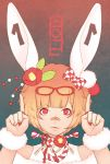 bandaid bow bunny_ears bunny_girl glasses gradient_hair hair_bow hair_ornament juuden multicolored_hair original red_eyes ringed_eyes short_hair solo stitched