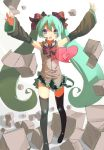 \o/ arms_up bad_id blue_eyes bow bowtie box detached_sleeves fkey green_hair hair_bow hair_ribbon hatsune_miku headset heart jewelry long_hair open_mouth outstretched_arms ribbon ring skirt solo spread_arms thigh-highs thighhighs twintails very_long_hair vocaloid zengxianxin zettai_ryouiki