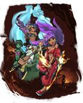 5girls adovo arabian_clothes baggy_pants bird dark_skin fire green_hair green_skin mimic_(character) mimic_(shantae) multiple_girls purple_hair risky_boots rottytops shantae shantae_(character) shantae_(series) sky_(character) sky_(shantae) sunset wrench_(shantae)