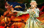 art birdhuman dress epic fire flag hat macross macross_frontier macross_frontier:_sayonara_no_tsubasa mayan mecha opera_act ruins vf-25