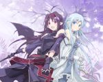 ahoge asuna_(sao) asuna_(sao-alo) dress long_hair multiple_girls pantyhose pointy_ears satomi sword sword_art_online weapon wings yuuki_(sao) yuuki_asuna