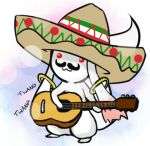 acoustic_guitar charro english facial_hair guitar hat instrument kyubey lowres mahou_shoujo_madoka_magica mariachi mexican_flag mustache no_humans parody priichu solo sombrero