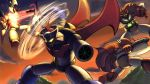 axe battle cape crossover getter-1 getter_dragon getter_robo getter_robo_armageddon glowing glowing_eyes great_mazinger great_mazinger_(robot) mazinger_z mazinger_z_(mecha) mecha source_request spikes spinning super_robot super_robot_wars weapon wings