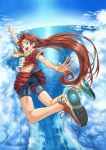 bad_id bike_shorts blue_eyes brown_hair cloud clouds flying long_hair original outstretched_arms pirano school_uniform shoes skirt sky sneakers solo spread_arms water