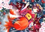 1girl absurdres black_hair flower head_wreath highres huge_filesize japanese_clothes kimono mermaid monster_girl natsume_eri petals red_eyes short_hair solo tsumami_kanzashi