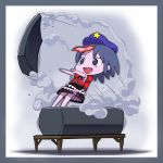 ah-negitorow blue_eyes blue_hair coffin drooling fang geung_si hat jiangshi lid miyako_yoshika ofuda open_mouth outstretched_arms pale_skin saliva short_hair skirt smile smoke solo star touhou translated zombie_pose