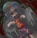 beret blue_eyes blue_hair blush chibi empty_eyes fang geung_si graveyard hat jiangshi miyako_yoshika muuba night ofuda open_mouth outstretched_arms shirt skirt solo star touhou zombie_pose