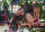 alternate_costume bare_legs barefoot blonde_hair book cup feet_in_water flandre_scarlet flower garter_straps hat indoors instrument izayoi_sakuya leaf legs long_hair maid maid_headdress multiple_girls ochurucchuru one_knee patchouli_knowledge piano pink_rose purple_hair reading red_eyes rose saucer shade short_hair side_ponytail silver_hair soaking_feet stairs table tea_set teacup teapot tears thigh-highs thighhighs touhou umbrella vertical-striped_legwear vertical_stripes water