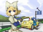 absurdres alternate_costume blonde_hair blue_dress blue_eyes blue_hair car contemporary dress gap hat hayate-s highres kawashiro_nitori key motor_vehicle multiple_girls necktie no_hat no_headwear ofuda power_lines road road_sign sign smile suzuki_swift touhou twintails vehicle wind yakumo_ran