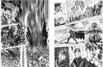 armor berserk black_hair blood cape comic crossover cuts dragonslayer_(sword) fang guts horns huge_weapon injury male monochrome monster mugen_(game) nagare samurai_spirits scar short_hair sword translation_request weapon youkai_kusaregedo