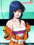 bare_shoulders blue_hair choujikuu_yousai_macross long_hair lynn_minmay macross macross:_do_you_remember_love? oldschool pilot_suit science_fiction solo spacesuit tachibana_kazuto tank_top u.n._spacy undressing