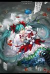 aqua_hair bow bows cd_player detached_sleeves dress earbuds earphones elbow_gloves flower gloves hatsune_miku highres kneehighs long_hair nail_polish snow solo striped striped_legwear striped_socks thighhighs twintails very_long_hair vocaloid