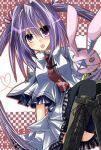 boots mameguri necktie open_mouth purple_eyes purple_hair school_uniform solo stuffed_animal stuffed_toy subarashiki_hibi thighhighs twintails violet_eyes wakatsuki_kagami