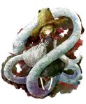 blush daruia_(sabitare) dress hair_ribbon hat highres mishaguji moriya_suwako ribbon short_hair snake touhou white_snake yellow_eyes