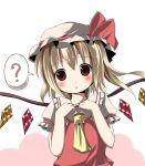 :x ? ascot blonde_hair blush bust dress flandre_scarlet hands_on_chest hands_on_own_chest hat head_tilt kazura red_dress red_eyes side_ponytail solo the_embodiment_of_scarlet_devil touhou wings